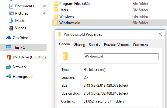 Delete Windows.old Folder after a Windows 10 Upgrade 02