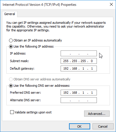 Set a static IP address in Windows 7 Windows 8.1 Windows 10 for the LAN 07