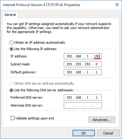 Set a static IP address in Windows 7 Windows 8.1 Windows 10 for the LAN 08