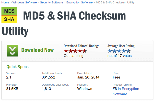 MD5 & SHA Checksum Utility