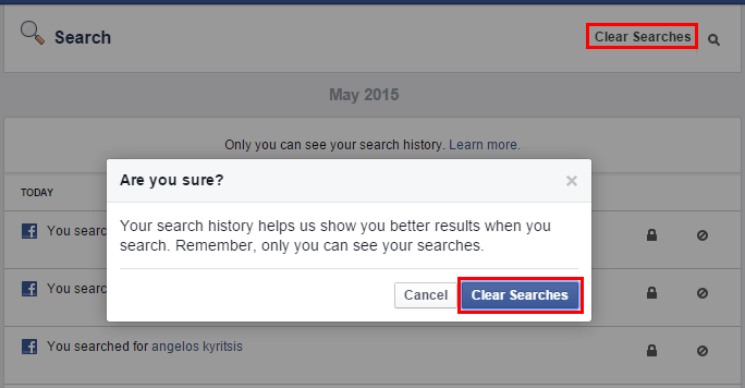 Delete Facebook Search History, The Quick Way
