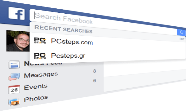 Delete Facebook Search History, the Quick Way | PCsteps com