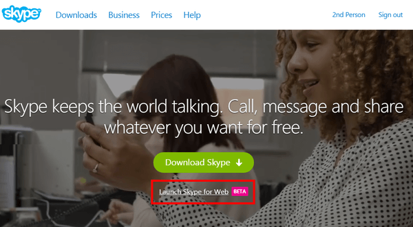 Skype Through Browser With Skype for Web 02