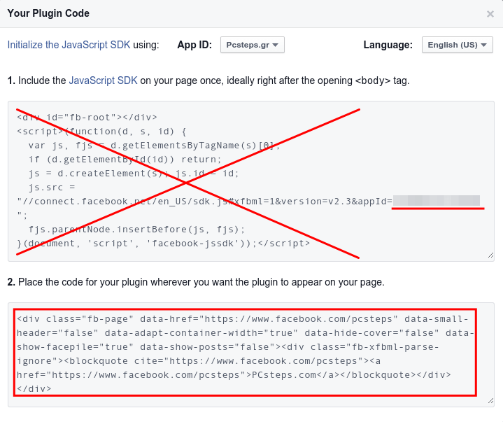 Add Facebook Page Plugin with Asynchronous Code 03