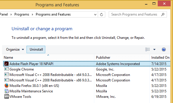 Uninstall Flash Disable Flash Delete Flash Chrome Firefox Internet Explorer 09