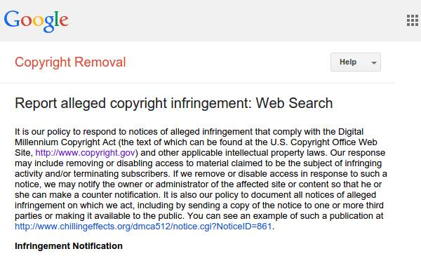 Report Copyright Infringement to Google Web Search 02