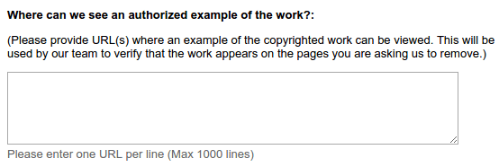 Report Copyright Infringement to Google Web Search 06
