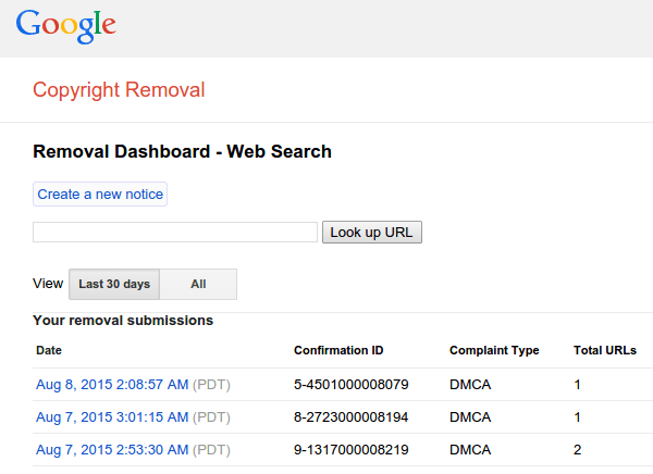 Report Copyright Infringement to Google Web Search 12