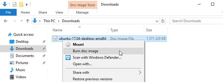 install ubuntu from usb over windows 10