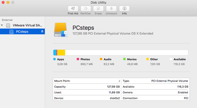 Disk Utility on Mac OS X - Manage Disk - Partition Disk - Resize Partition - Create Partition 03