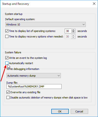 Stop Auto Reset after a Blue Screen Error on Windows 03