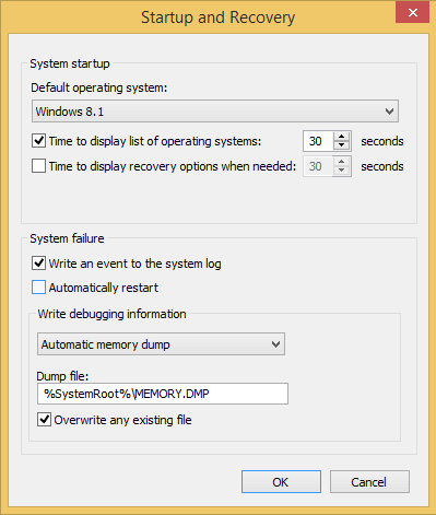 Stop Auto Reset after a Blue Screen Error on Windows 04