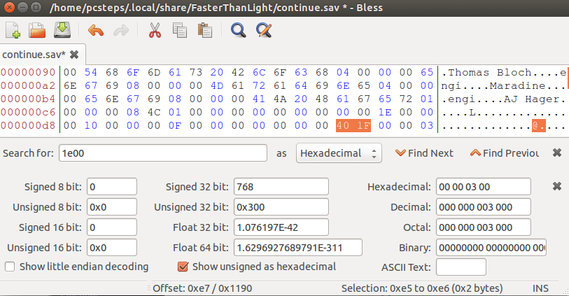 Linux Mint - Ubuntu Hex Editor - Edit Data files with Bless 12
