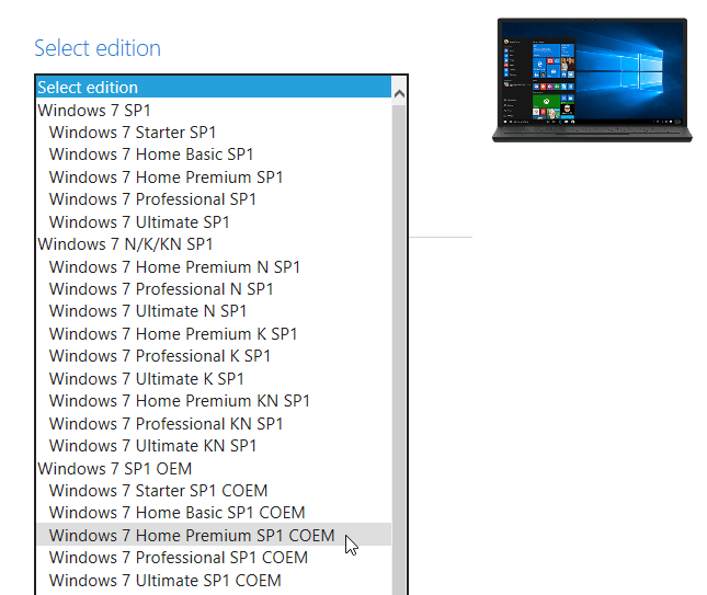 Select Windows 7 Version