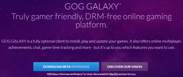 GOG Galaxy - A DRM-Free Steam Alternative in Beta 01