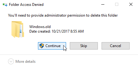 Delete Windows old after the Windows 10 Fall Creators Update