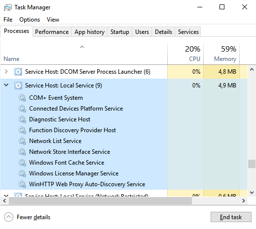 host process for windows services 50 cpu