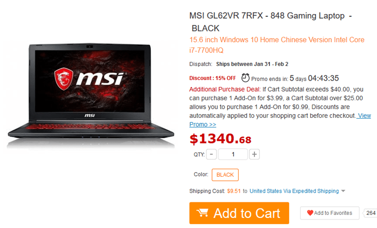 High-End Gaming Laptop MSI GL62VR 7RFX At An Affordable Price