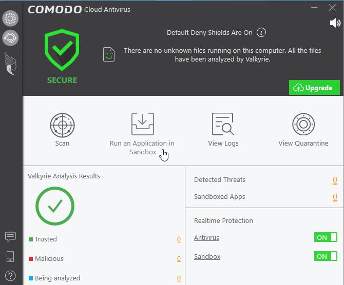 Comodo interface