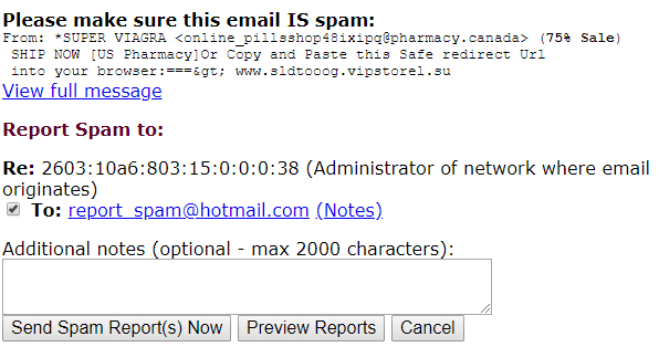 SpamCop other example