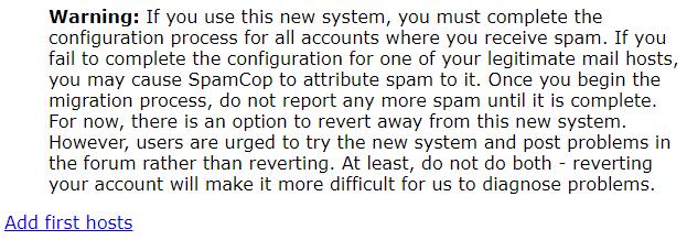 SpamCop Add first hosts